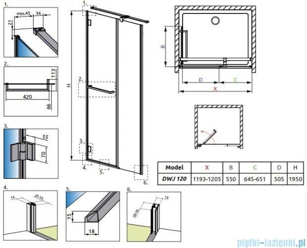 Radaway Drzwi prysznicowe Carena DWJ 120 lewe szkło przejrzyste 34332-01-01NL