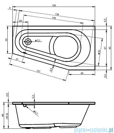 Riho Delta wanna asymetryczna 150x80 lewa + nóżki + syfon BB81/01U/AMC55