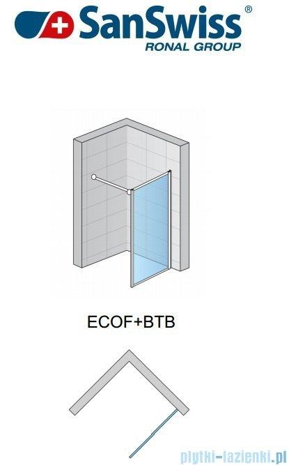SanSwiss Eco-Line Ścianka boczna Ecof 80cm profil biały szkło przejrzyste ECOF08000407