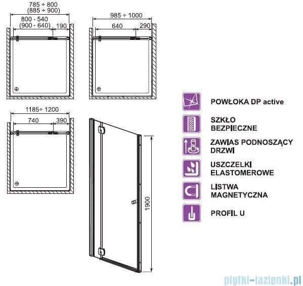 Aquaform Sol drzwi wnękowe De Luxe 80cm szkło przejrzyste lewe 06062