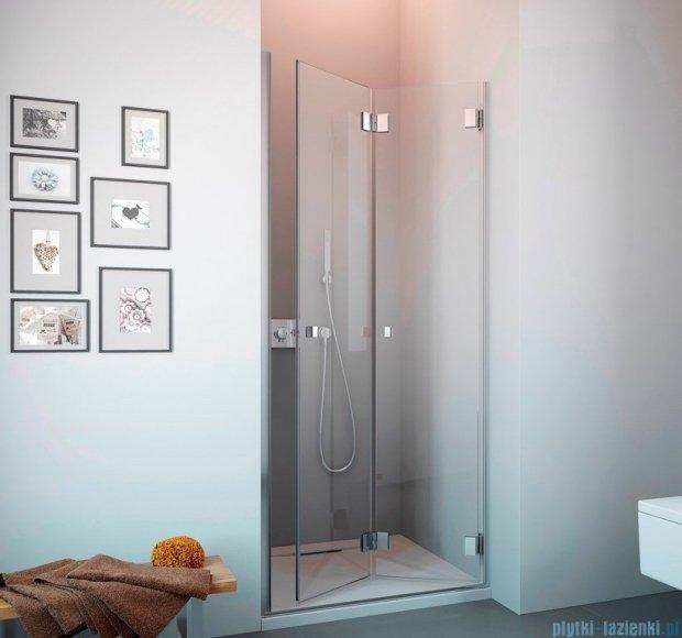 Radaway Carena DWB Drzwi prysznicowe 80 prawe szkło przejrzyste + brodzik Delos C + Syfon 34512-01-01NR