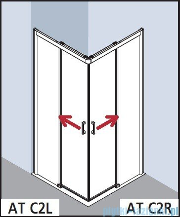 Kermi Atea Wejście narożne prawe, połowa kabiny, szkło przezroczyste KermiClean, profile białe 90x185cm ATC2R090182PK