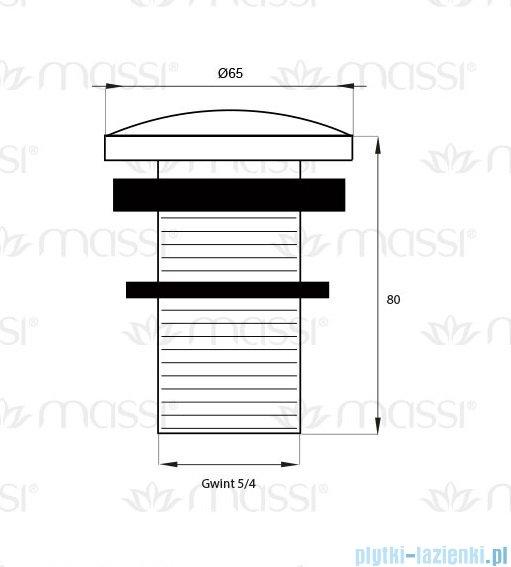 Massi korek klik klak duży bez przelewu chrom MSA-KK-03