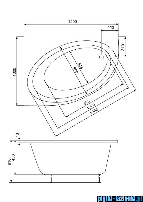 Roca Orbita wanna asymetryczna 140x100 cm lewa A24T185000