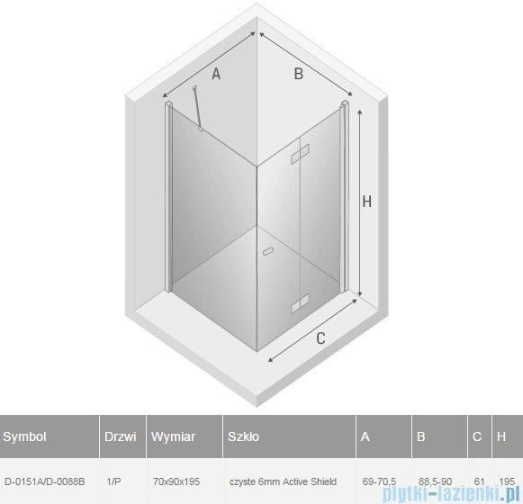 New Trendy New Soleo 70x90x195 cm kabina prawa przejrzyste D-0151A/D-0088B