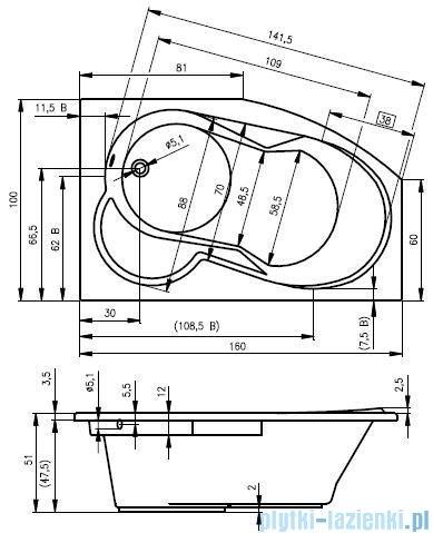 Riho Nora wanna asymetryczna 160x100 lewa + nóżki + syfon BA75/08/AMC55