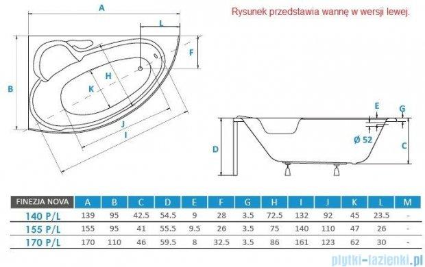 Piramida Finezja 155x95cm Wanna asymetryczna Lewa FIN155L