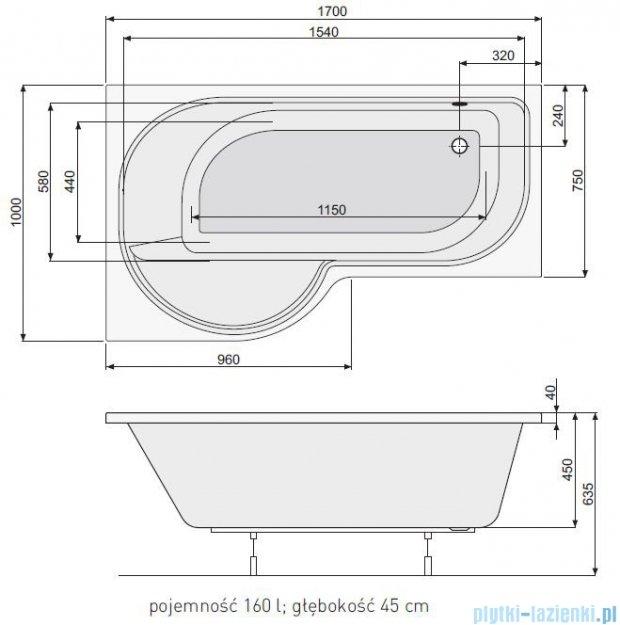 Poolspa Intea wanna asymetryczna 170x100 lewa + hydromasaż system Smart 2 PHAQW10ST2C0000