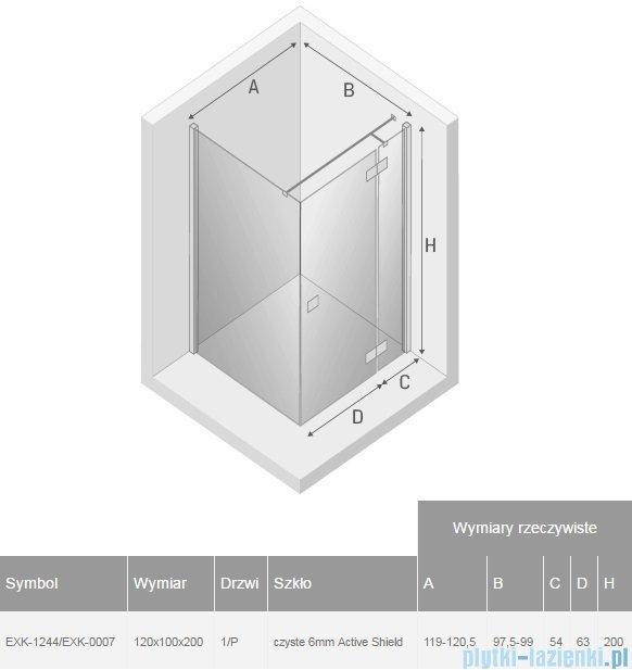 New Trendy Reflexa 120x100x200 cm kabina prostokątna prawa przejrzyste EXK-1244/EXK-0007