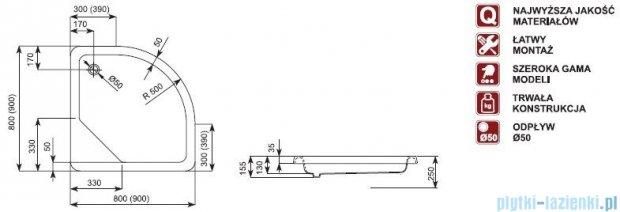 Aquaform Standard brodzik półokrągły 90x90x15,5cm 35024
