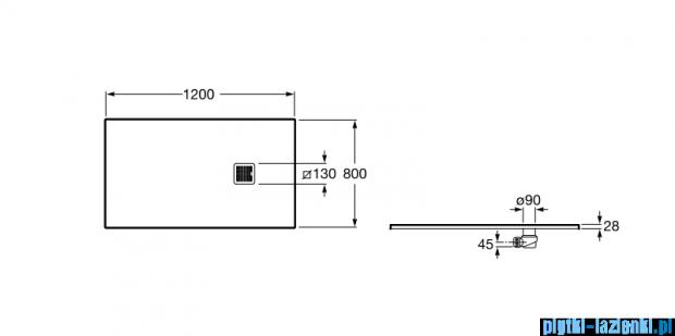 Roca Terran 120x80cm brodzik prostokątny konglomeratowy cream AP014B032001500