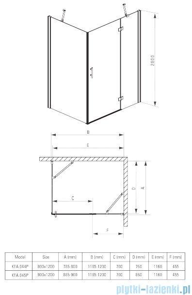 Deante Abelia kabina prostokątna 120x90 cm przejrzyste KTA 045P