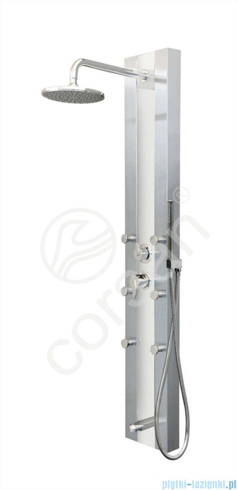 Corsan Araga Panel natryskowy z mieszaczem stal szczotkowana S-011MBIAŁY