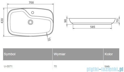 New Trendy Umywalka nablatowa biała 70x43 cm U-0071