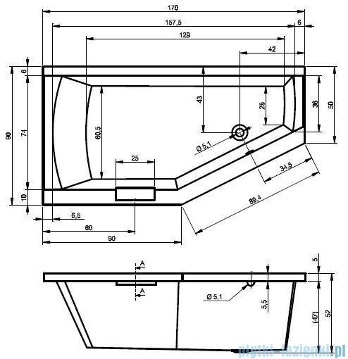 Riho Geta Wanna asymetryczna 170x90 prawa + nogi + syfon BA88/09/AMC55