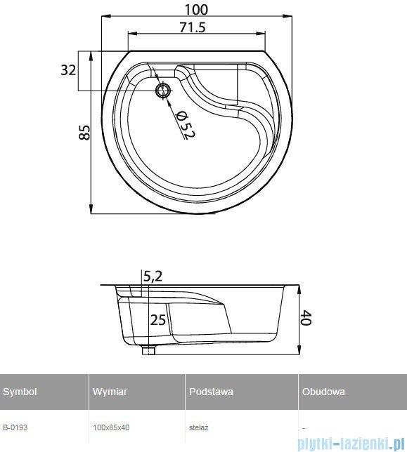 New Trendy Rondo brodzik przyścienny z siedziskiem 100x85 B-0193