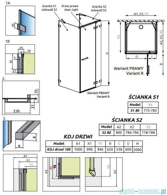 Radaway Euphoria KDJ+S Kabina przyścienna 80x100x80 prawa szkło przejrzyste 383022-01R/383051-01/383031-01