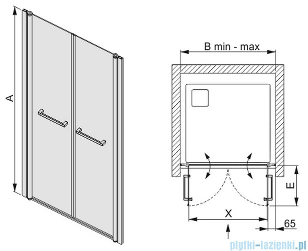 Sanplast drzwi skrzydłowe szkło: przejrzyste  DD/PRIII-80    600-073-0920-01-401