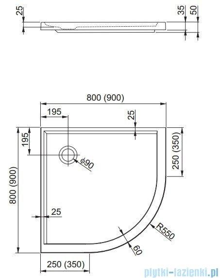 Aquaform Plus 550 brodzik półokrągły superpłytki 80x80cm 200-06920