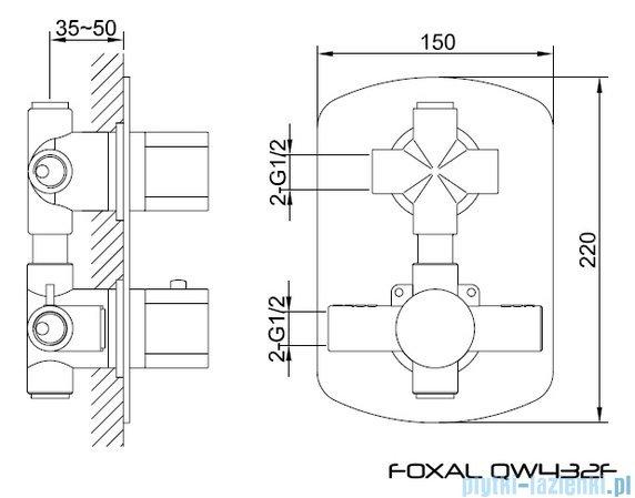Kohlman Foxal Termostatyczna podtynkowa bateria wannowo-prysznicowa z dwoma wyjściami QW432F