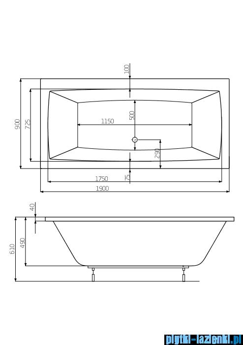 Roca Vita wanna 190x90cm z hydromasażem Smart WaterAir Plus A24T094000