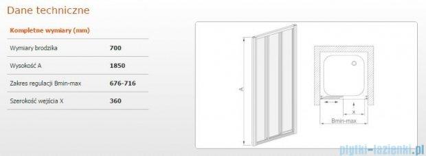 Sanplast drzwi przesuwne DTr-c-70 szkło Sitodruk P 600-013-1611-01-520