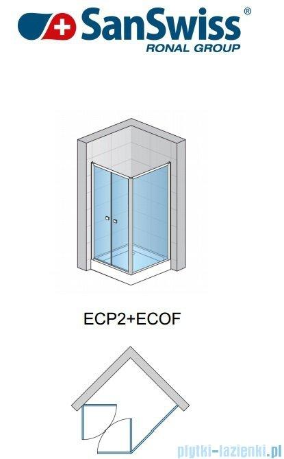 SanSwiss Eco-Line Drzwi 2-częściowe Ecp2 80cm profil srebrny szkło przejrzyste ECP208000107