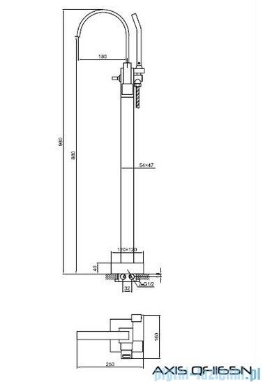 Kohlman Axis bateria wannowa wolnostojąca QF1165N