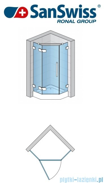 SanSwiss Pur PUR51 Drzwi 1-częściowe do kabiny 5-kątnej 45-100cm profil chrom szkło Master Carre Lewe PUR51GSM21030