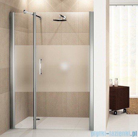 Novellini Drzwi do wnęki z elementem stałym GIADA G+F 126 cm prawe szkło przejrzyste profil biały GIADNGF126D-1A
