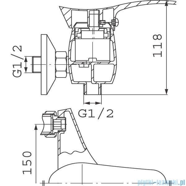 Ferro Bateria PADWA natryskowa ścienna bez natrysku BTP7