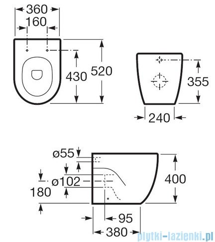 Roca Meridian-N Compacto Miska Wc stojąca powłoka Maxi Clean A34724700M