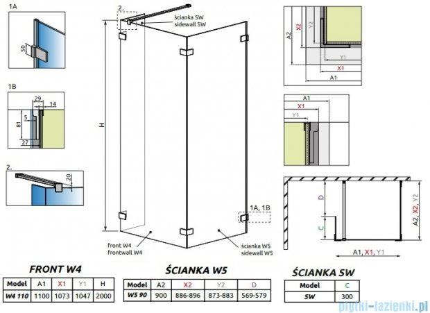 Radaway Euphoria Walk-in IV kabina 110x90cm szkło przejrzyste 383143-01-01/383151-01-01/383160-01-01