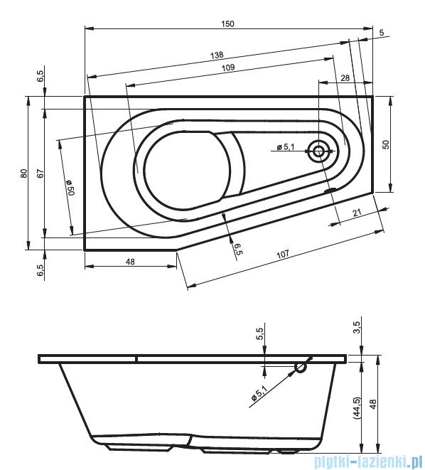 Riho Delta wanna asymetryczna prawa 150x80 z hydromasażem TOP Aero11 BB80T1