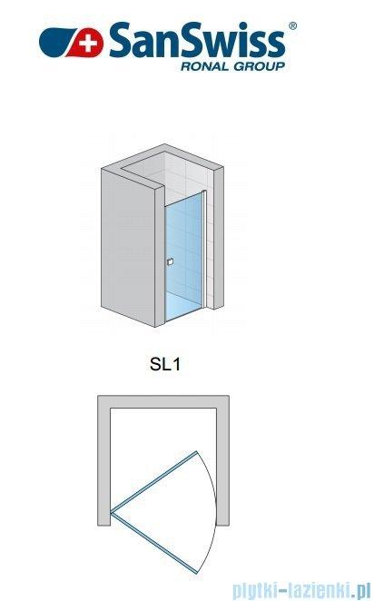 SanSwiss Swing Line SL1 Drzwi jednoczęściowe 80cm profil biały SL108000407