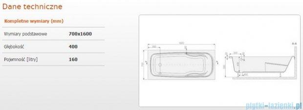 Sanplast Eko Plus wanna prostokątna WP/EKOPLUS 70x160+STW 610-131-0060-01-000