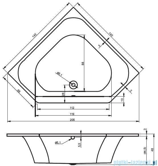 Riho Austin Wanna symetryczna 145x145 BA11