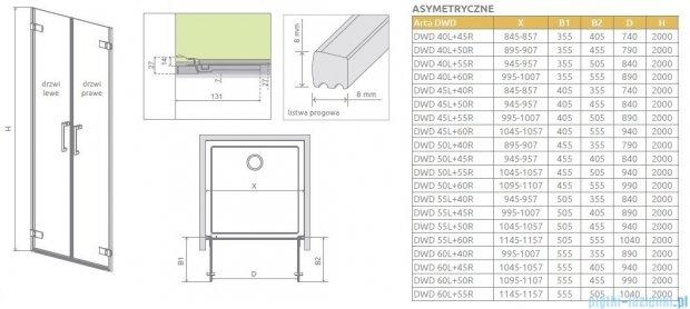 Radaway Arta Dwd drzwi wnękowe 50cm część prawa szkło przejrzyste 386032-03-01R