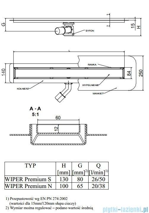 Wiper Odpływ liniowy Premium Pure 60cm z kołnierzem poler PU600PPS100