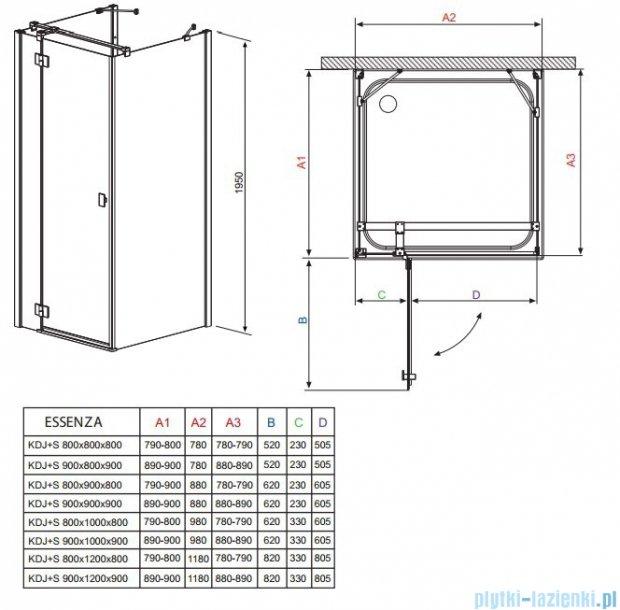 Radaway Kabina prysznicowa Essenza KDJ+S 90x80x90 lewa szkło przejrzyste + brodzik Doros D + syfon 32955-01-01L