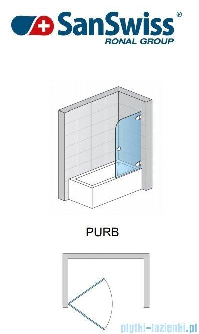 SanSwiss Pur PURB Parawan nawannowy 1-częściowy 75cm profil chrom szkło przezroczyste Prawy PURBD07501007