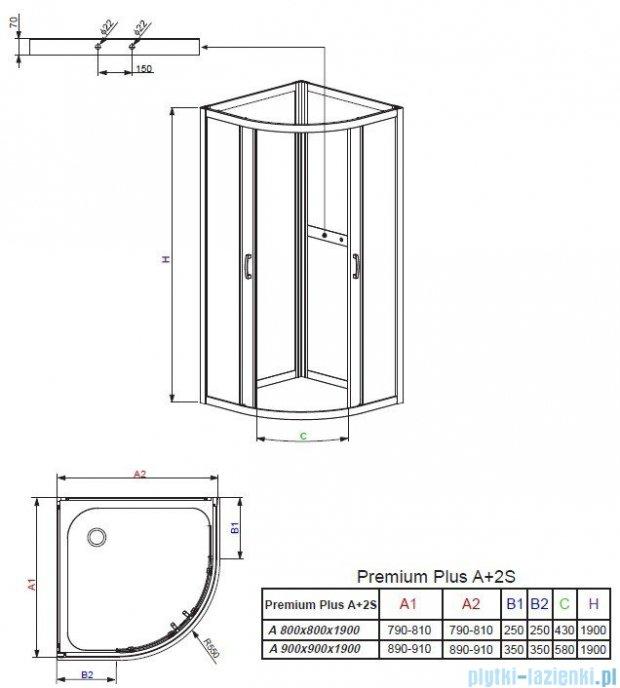 Radaway Premium Plus 2S Komplet ścianek tylnych 80x80 szkło fabric 33443-01-06N