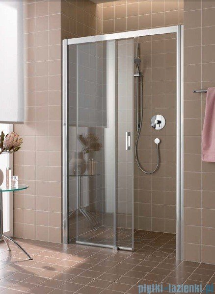 Kermi Atea Drzwi przesuwne bez progu, lewe, szkło przezroczyste, profile srebrne 160x185 ATD2L16018VAK