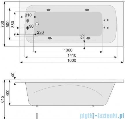 Poolspa Wanna prostokątna KLIO 160x70 + hydromasaż system SD1 PHP6610SD1C0000