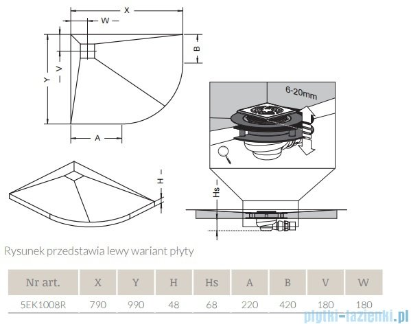 Radaway półogrągły brodzik podpłytkowy z kratką odpływową 99x79cm Prawy 5EK1008R,5K01,5SK1