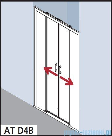 Kermi Atea Drzwi przesuwne bez progu, 4-częściowe, szkło przezroczyste, profile srebrne 140x185 ATD4B14018VAK