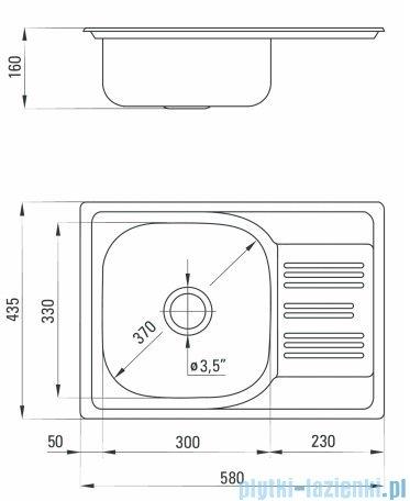 Deante  Xylo zlewozmywak 1-komorowy z krótkim ociekaczem 58x43,5 cm satyna ZEX 011A