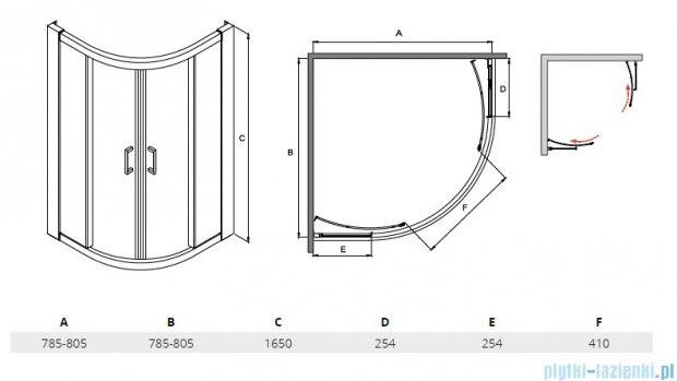 Besco Modern kabina półokrągła 80x80x165cm przejrzyste MP-80-165-C