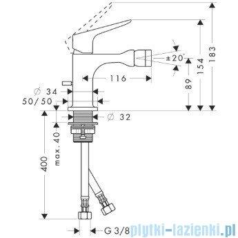 Hansgrohe Axor Citterio M Jednouchwytowa bateria bidetowa DN15 34210000