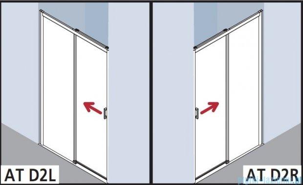 Kermi Atea Drzwi przesuwne bez progu, prawe, szkło przezroczyste KermiClean, profile białe 100x200 ATD2R100202PK